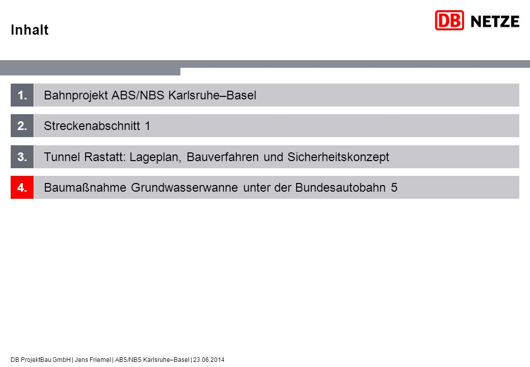 Inhalt 1. Bahnprojekt ABS/NBS Karlsruhe–Basel 2. Streckenabschnitt 1