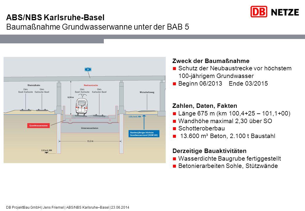 ABS/NBS Karlsruhe-Basel Baumaßnahme Grundwasserwanne unter der BAB 5