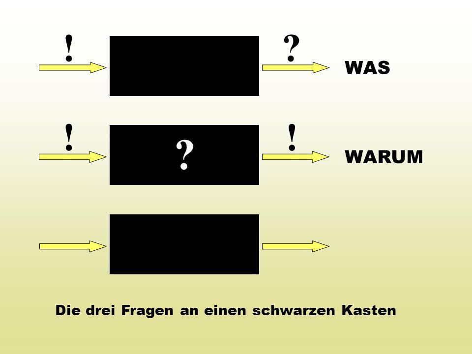 ! WAS ! ! WARUM Die drei Fragen an einen schwarzen Kasten