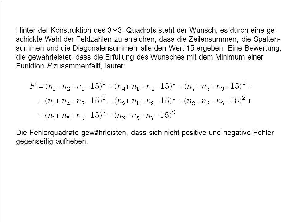 Hinter der Konstruktion des 3  3 - Quadrats steht der Wunsch, es durch eine ge-schickte Wahl der Feldzahlen zu erreichen, dass die Zeilensummen, die Spalten-summen und die Diagonalensummen alle den Wert 15 ergeben. Eine Bewertung, die gewährleistet, dass die Erfüllung des Wunsches mit dem Minimum einer Funktion F zusammenfällt, lautet: