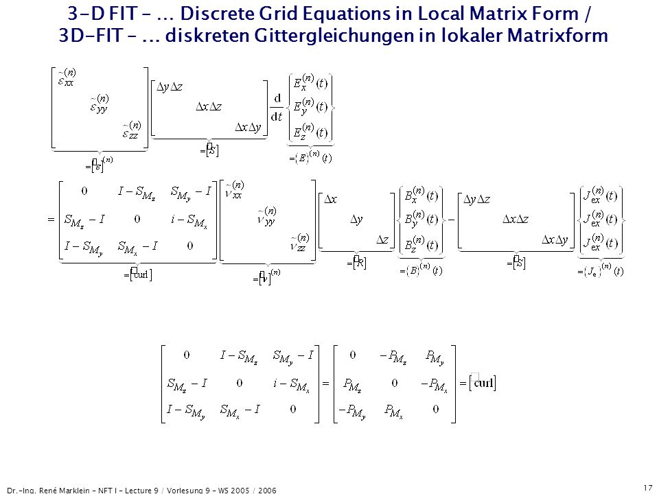 3-D FIT – … Discrete Grid Equations in Local Matrix Form / 3D-FIT –