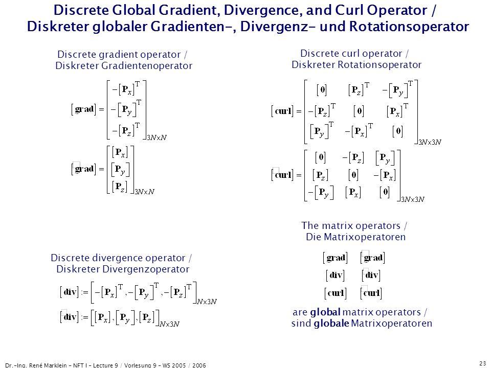 Discrete Global Gradient, Divergence, and Curl Operator / Diskreter globaler Gradienten-, Divergenz- und Rotationsoperator
