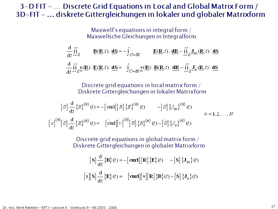 3-D FIT – … Discrete Grid Equations in Local and Global Matrix Form / 3D-FIT – ... diskrete Gittergleichungen in lokaler und globaler Matrixform