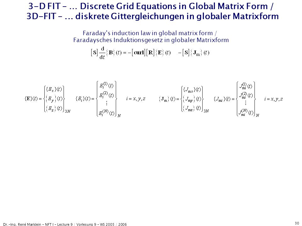 3-D FIT – … Discrete Grid Equations in Global Matrix Form / 3D-FIT –