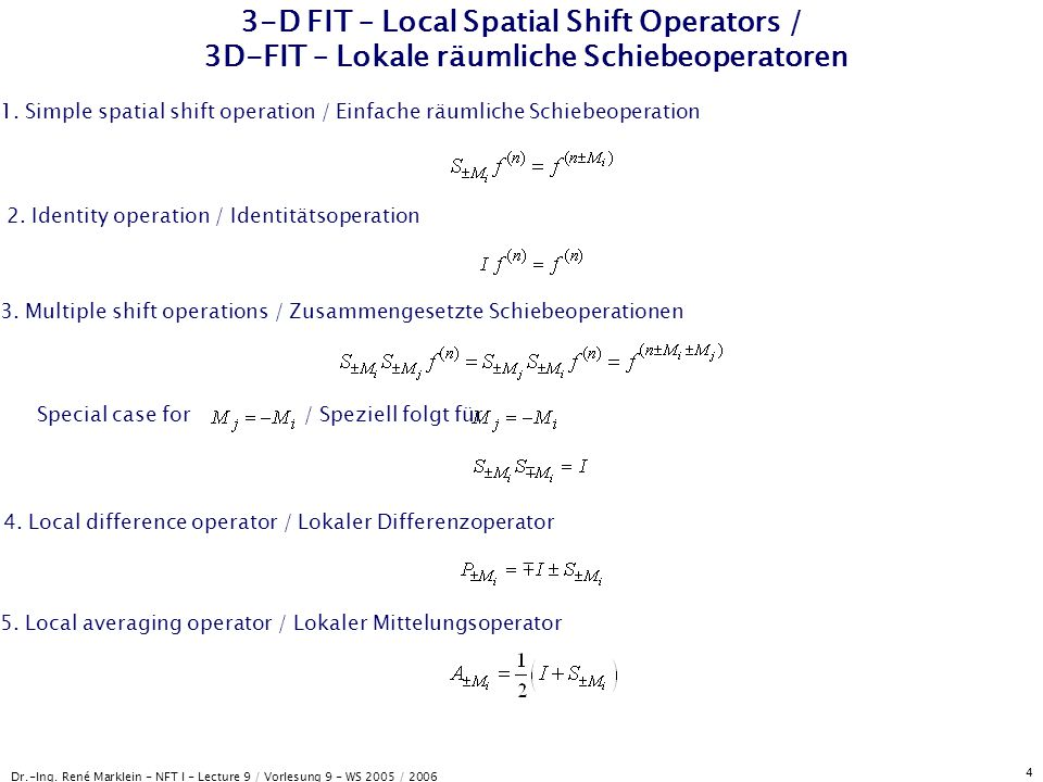 3-D FIT – Local Spatial Shift Operators / 3D-FIT – Lokale räumliche Schiebeoperatoren