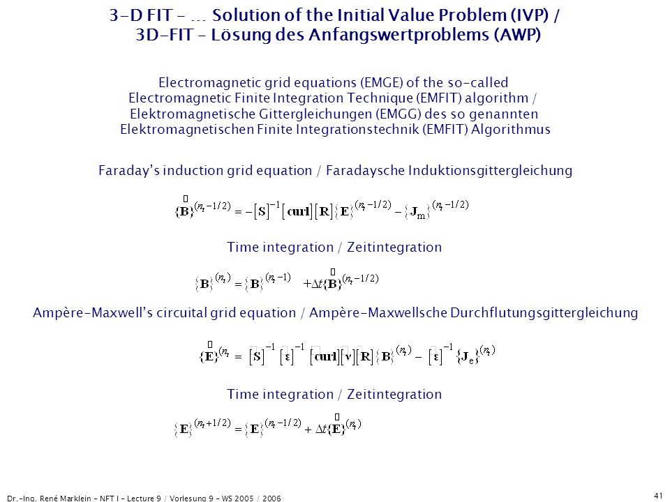 3-D FIT – … Solution of the Initial Value Problem (IVP) / 3D-FIT – Lösung des Anfangswertproblems (AWP)