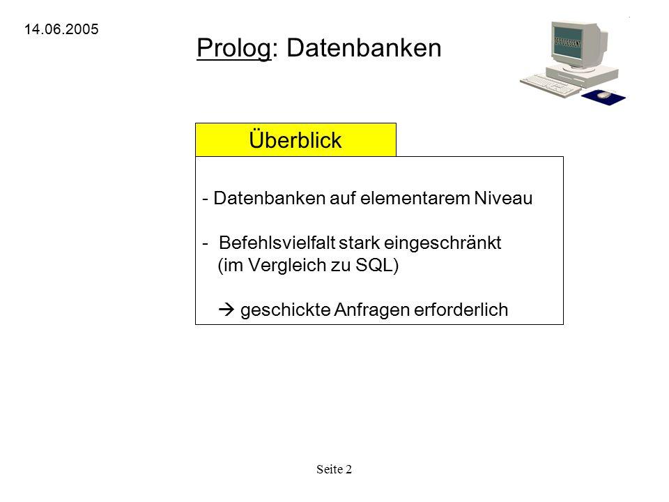Prolog: Datenbanken Überblick Datenbanken auf elementarem Niveau