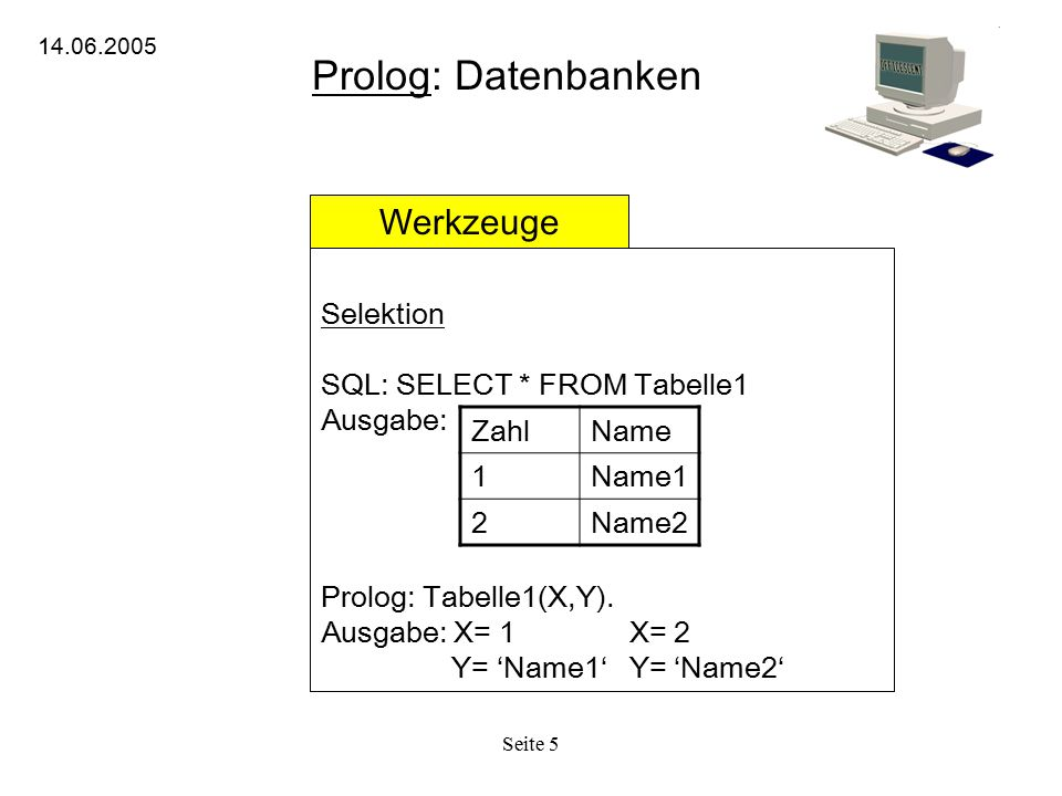 Prolog: Datenbanken Werkzeuge Selektion SQL: SELECT * FROM Tabelle1