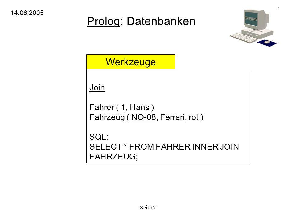 Prolog: Datenbanken Werkzeuge Join Fahrer ( 1, Hans )