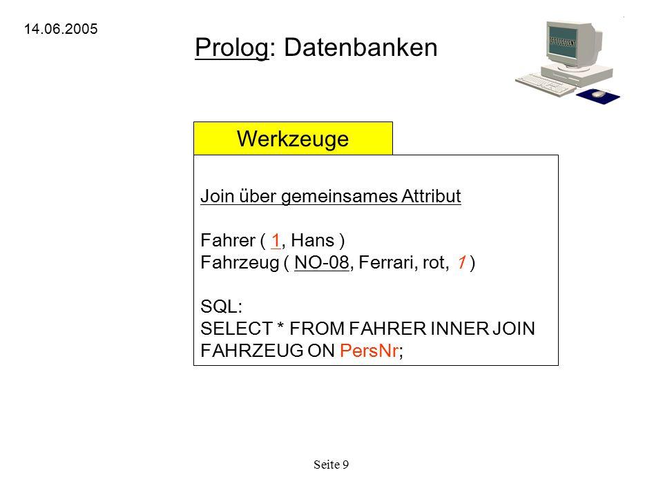 Prolog: Datenbanken Werkzeuge Join über gemeinsames Attribut
