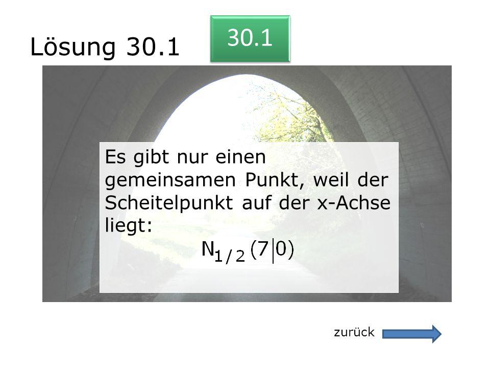 Lösung 30.1 30.1. Es gibt nur einen gemeinsamen Punkt, weil der Scheitelpunkt auf der x-Achse liegt: