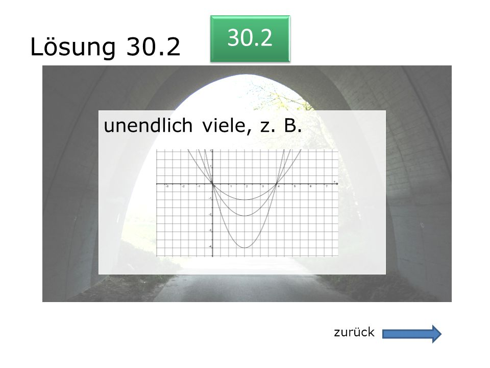 Lösung 30.2 30.2 unendlich viele, z. B. zurück