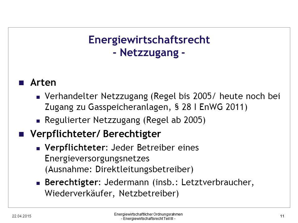 Energiewirtschaftsrecht - Netzzugang -