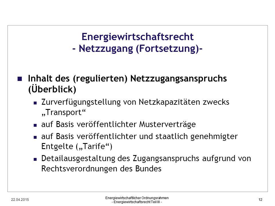 Energiewirtschaftsrecht - Netzzugang (Fortsetzung)-