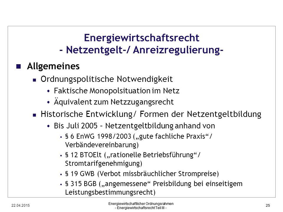 Energiewirtschaftsrecht - Netzentgelt-/ Anreizregulierung-