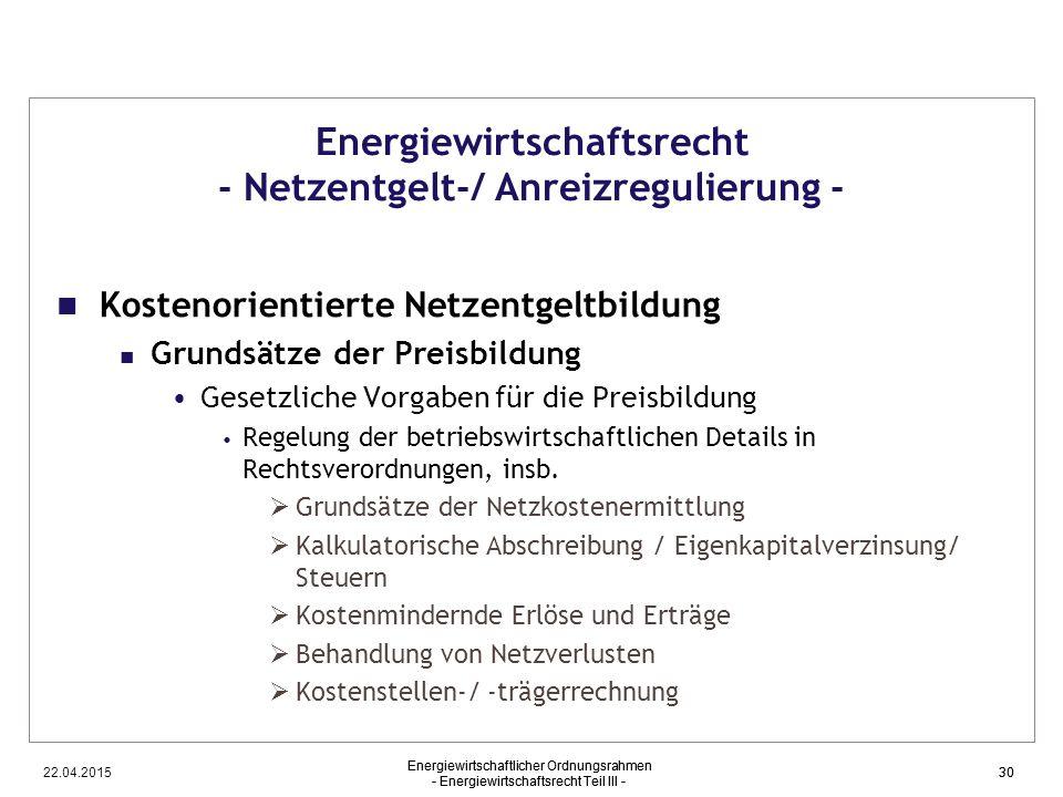 Energiewirtschaftsrecht - Netzentgelt-/ Anreizregulierung -