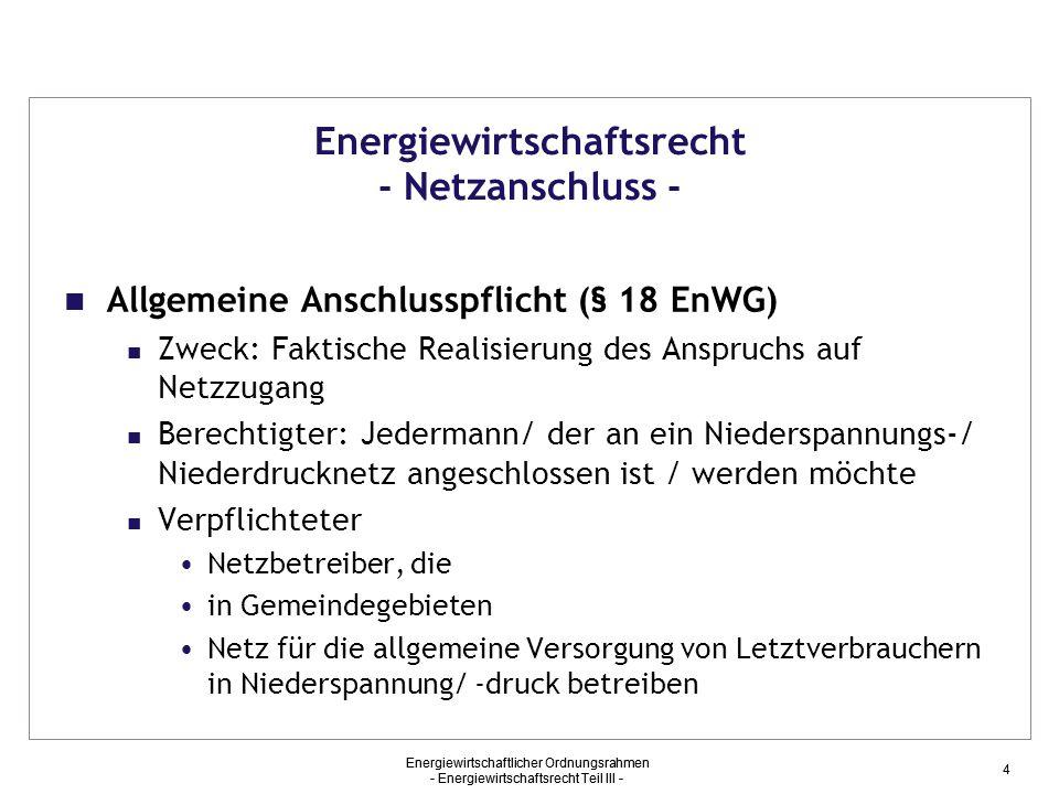 Energiewirtschaftsrecht - Netzanschluss -
