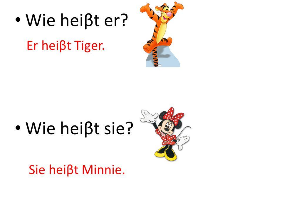 Wie heiβt er Wie heiβt sie Er heiβt Tiger. Sie heiβt Minnie.