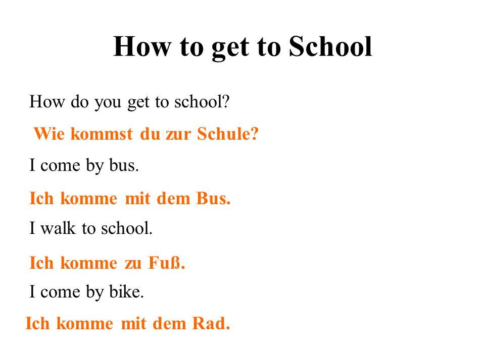 How to get to School How do you get to school I come by bus.