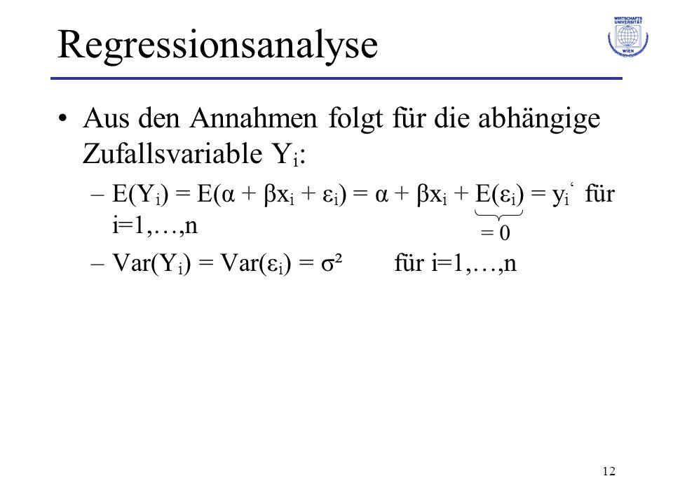 Regressionsanalyse Aus den Annahmen folgt für die abhängige Zufallsvariable Yi: E(Yi) = E(α + βxi + εi) = α + βxi + E(εi) = yi' für i=1,…,n.