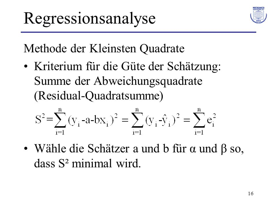 Regressionsanalyse Methode der Kleinsten Quadrate