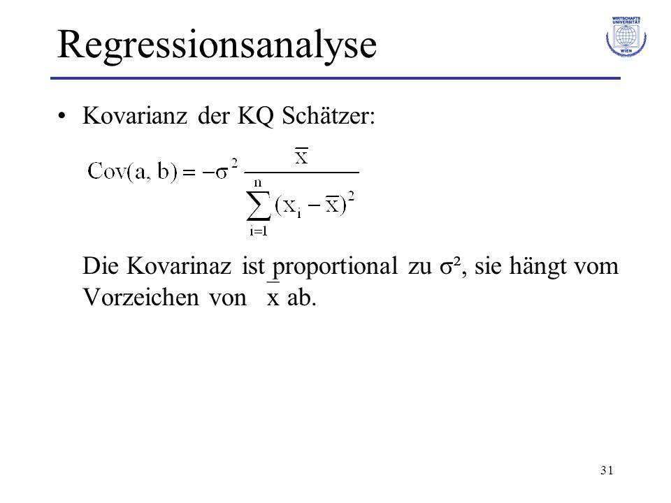 Regressionsanalyse Kovarianz der KQ Schätzer: