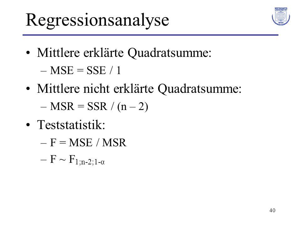 Regressionsanalyse Mittlere erklärte Quadratsumme: