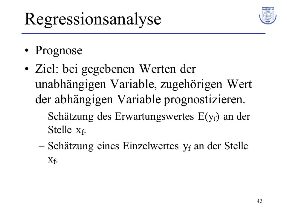 Regressionsanalyse Prognose