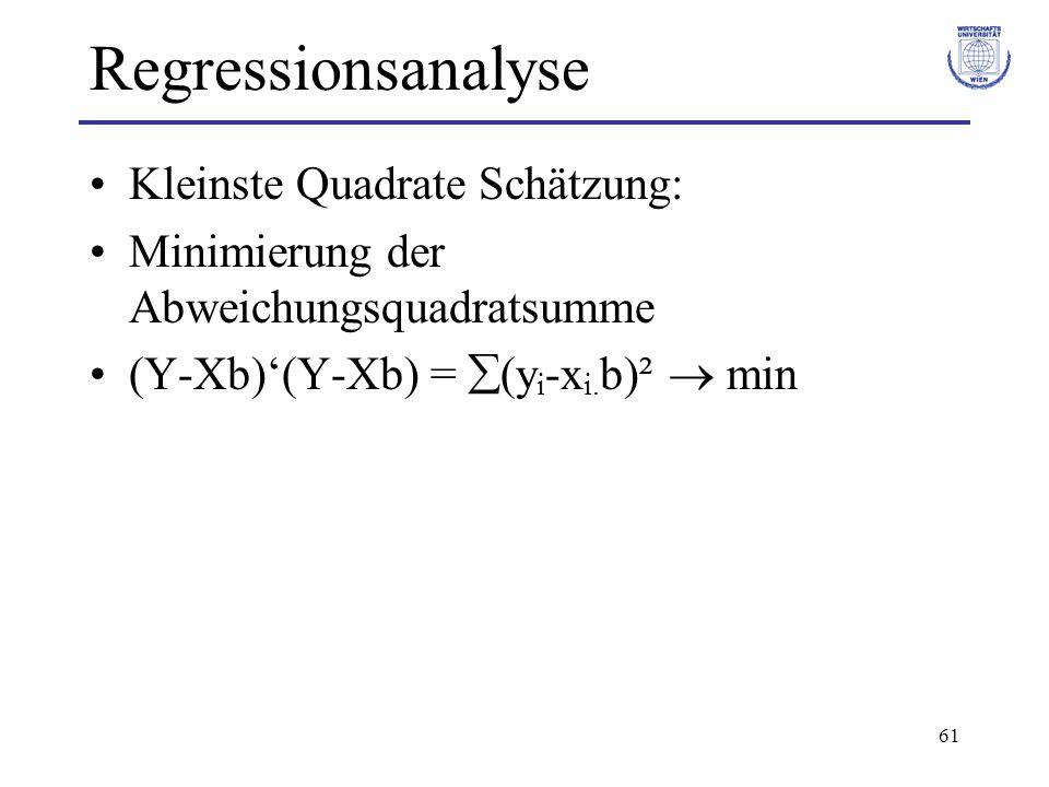 Regressionsanalyse Kleinste Quadrate Schätzung: