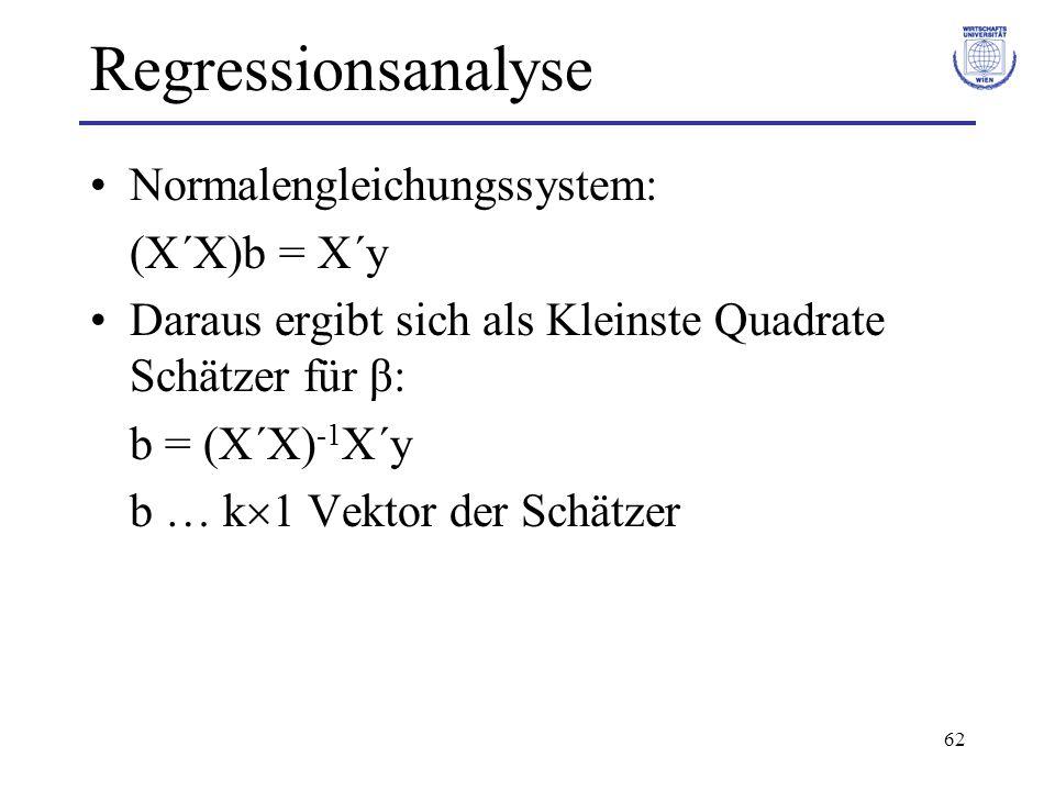 Regressionsanalyse Normalengleichungssystem: (X´X)b = X´y