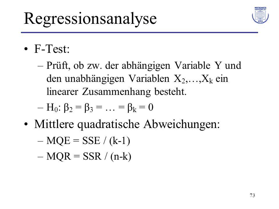 Regressionsanalyse F-Test: Mittlere quadratische Abweichungen: