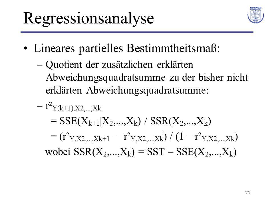 Regressionsanalyse Lineares partielles Bestimmtheitsmaß: