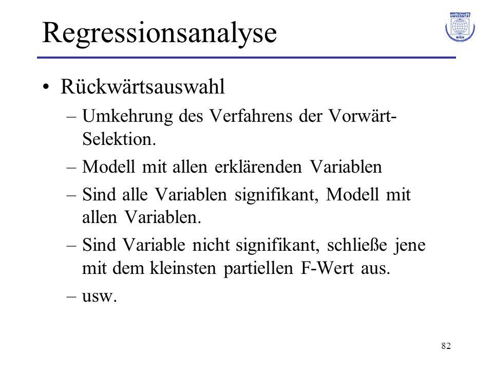 Regressionsanalyse Rückwärtsauswahl