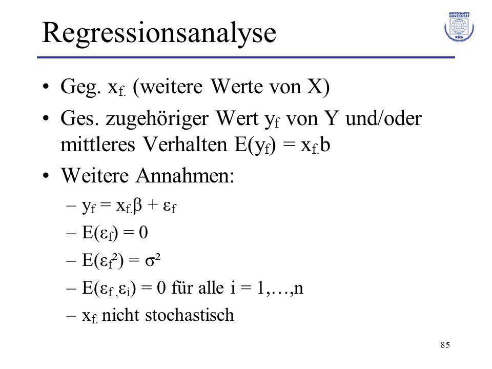 Regressionsanalyse Geg. xf. (weitere Werte von X)