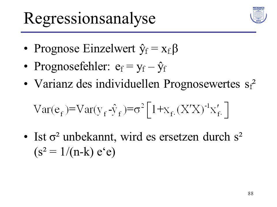 Regressionsanalyse Prognose Einzelwert ŷf = xf.β