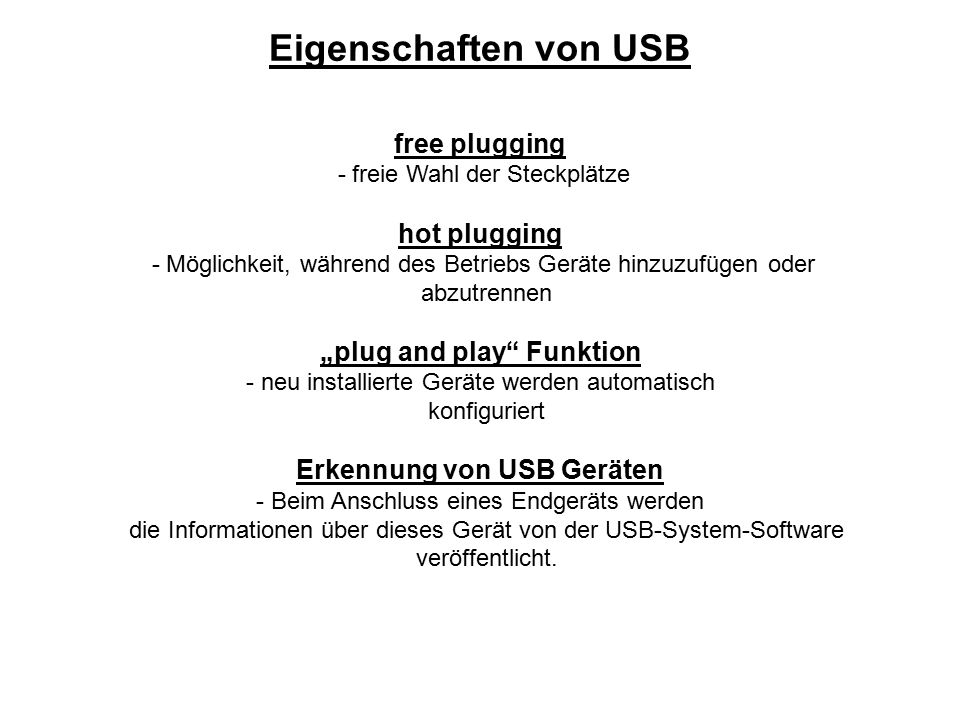 """""""plug and play Funktion Erkennung von USB Geräten"""