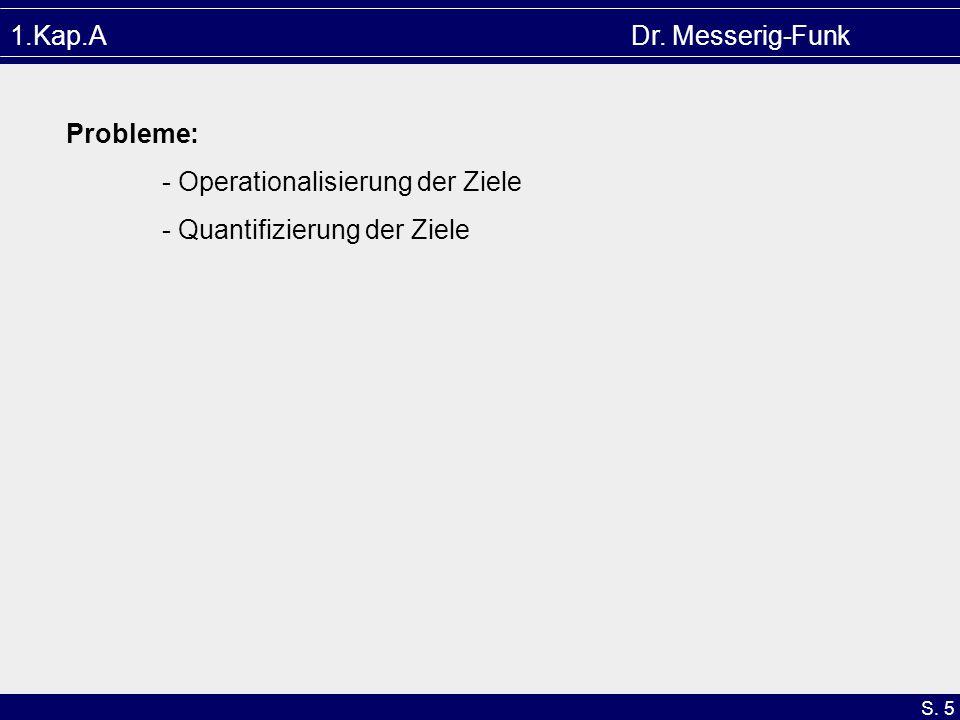 1.Kap.A Dr. Messerig-Funk Probleme: - Operationalisierung der Ziele.