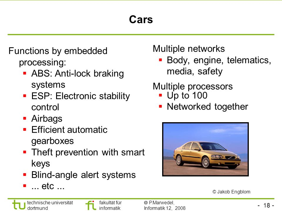 Cars Multiple networks Functions by embedded processing: