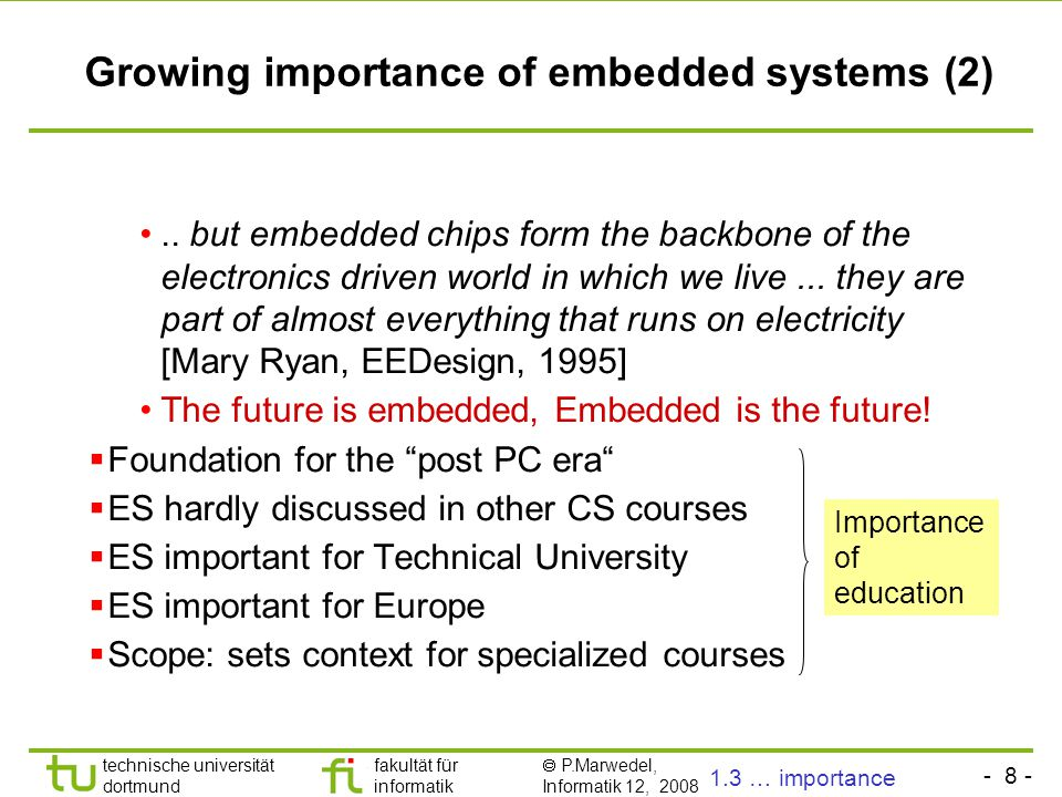 Growing importance of embedded systems (2)
