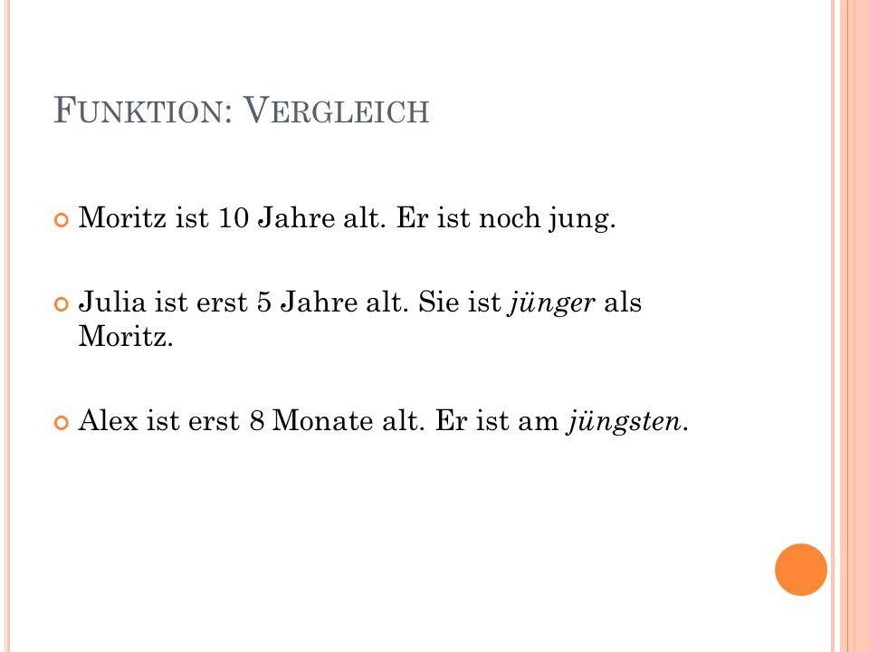 Funktion: Vergleich Moritz ist 10 Jahre alt. Er ist noch jung.