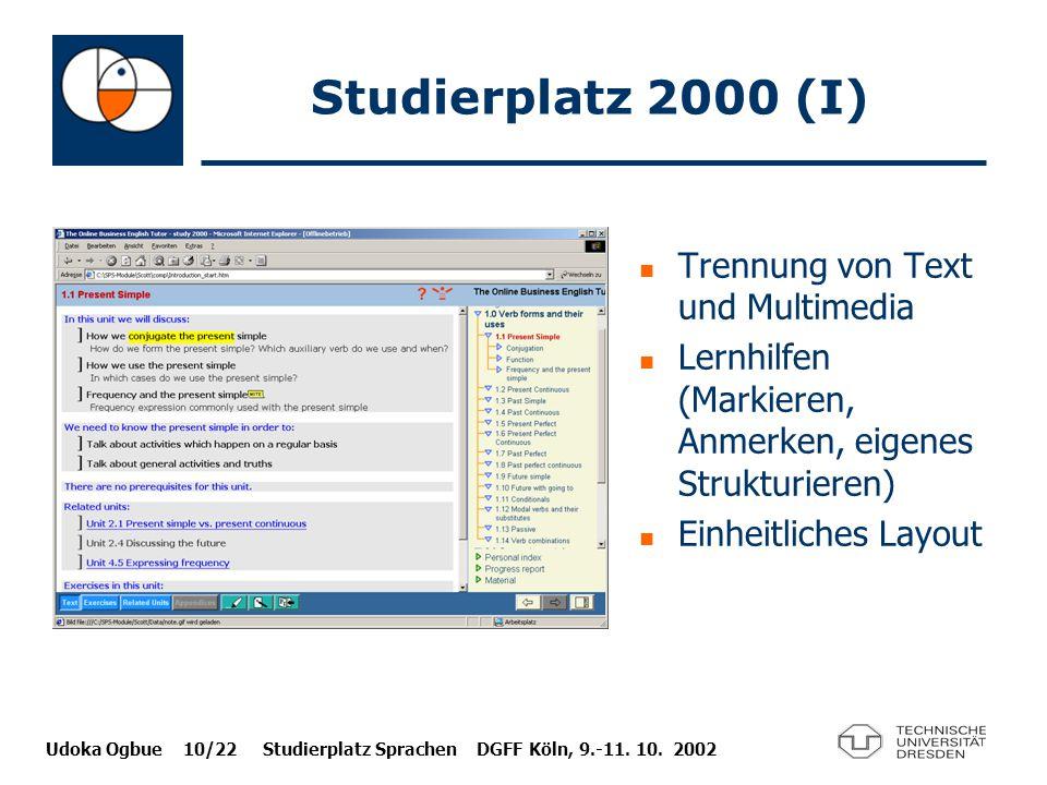 Studierplatz 2000 (I) Trennung von Text und Multimedia