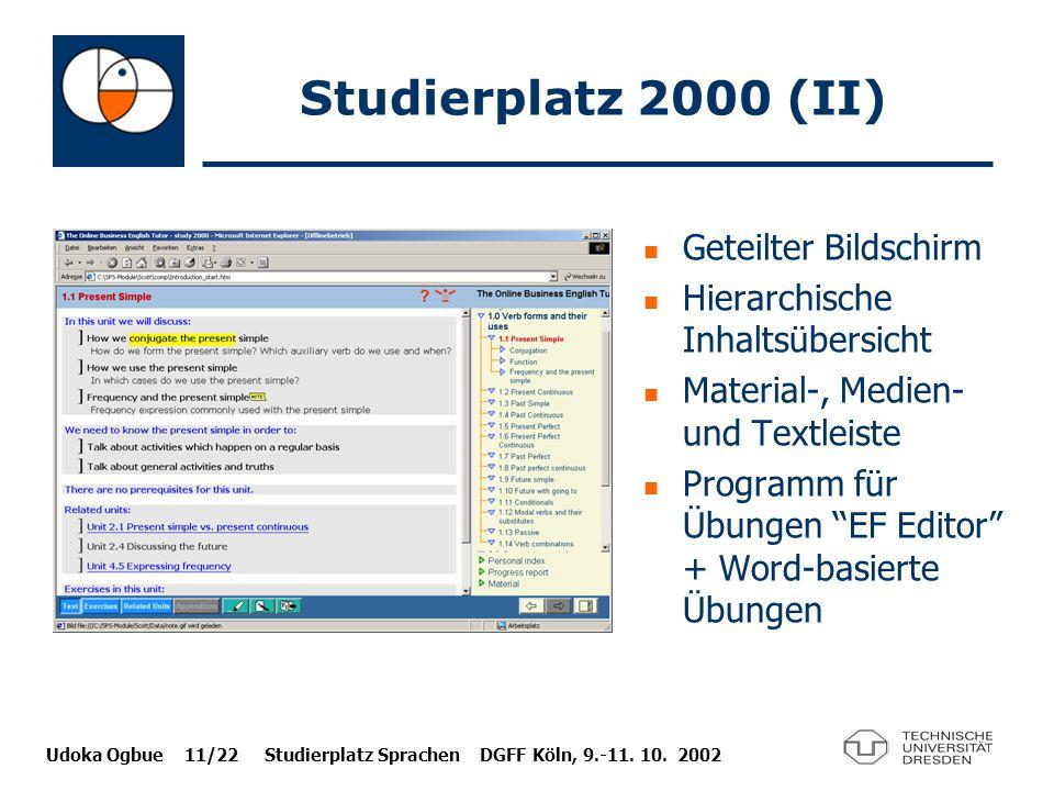 Studierplatz 2000 (II) Geteilter Bildschirm