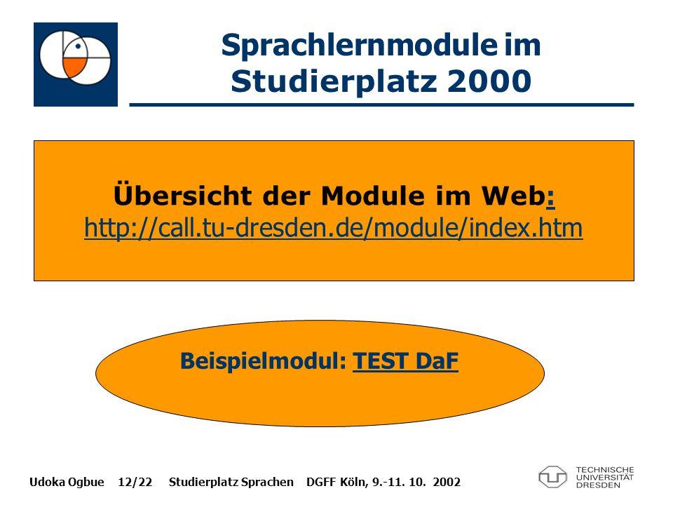Sprachlernmodule im Studierplatz 2000