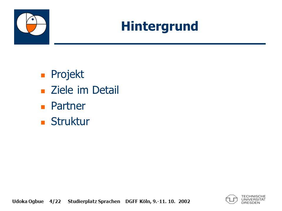 Hintergrund Projekt Ziele im Detail Partner Struktur
