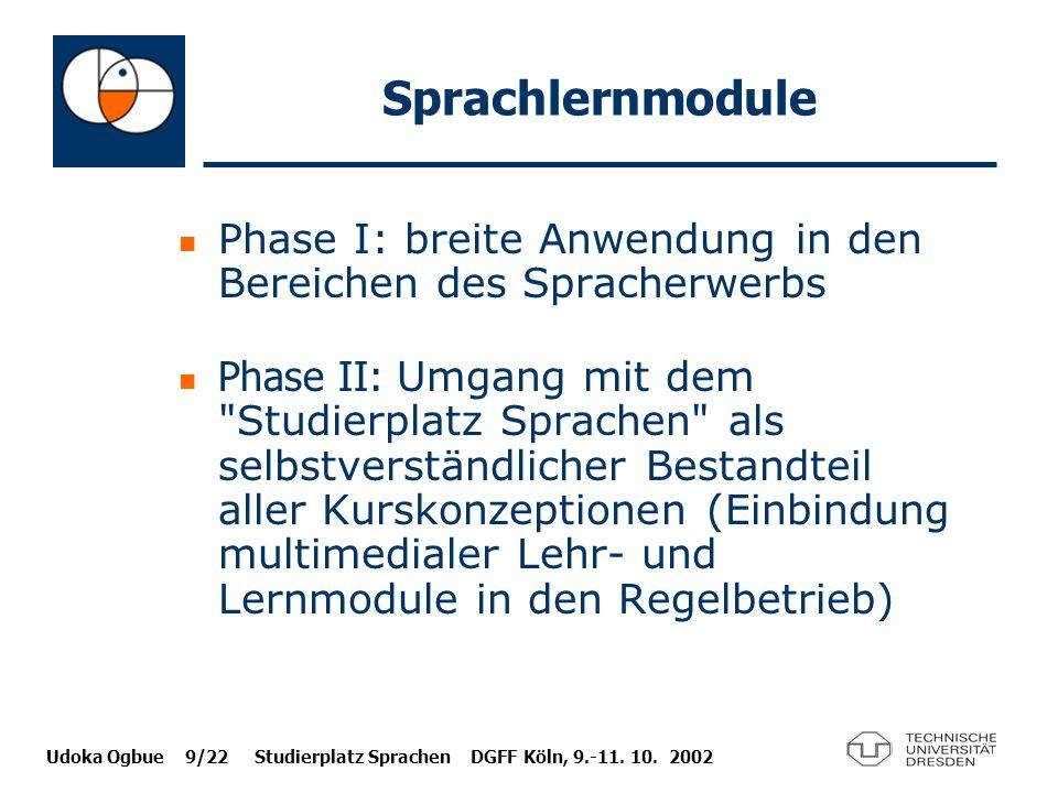 Sprachlernmodule Phase I: breite Anwendung in den Bereichen des Spracherwerbs.