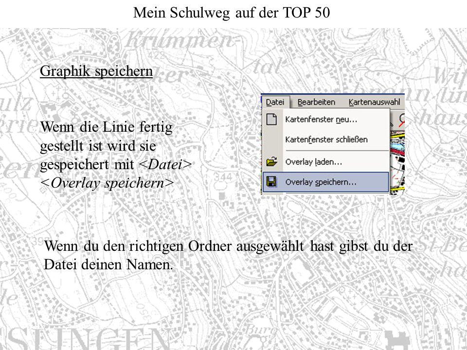 Graphik speichern Wenn die Linie fertig gestellt ist wird sie gespeichert mit <Datei> <Overlay speichern>