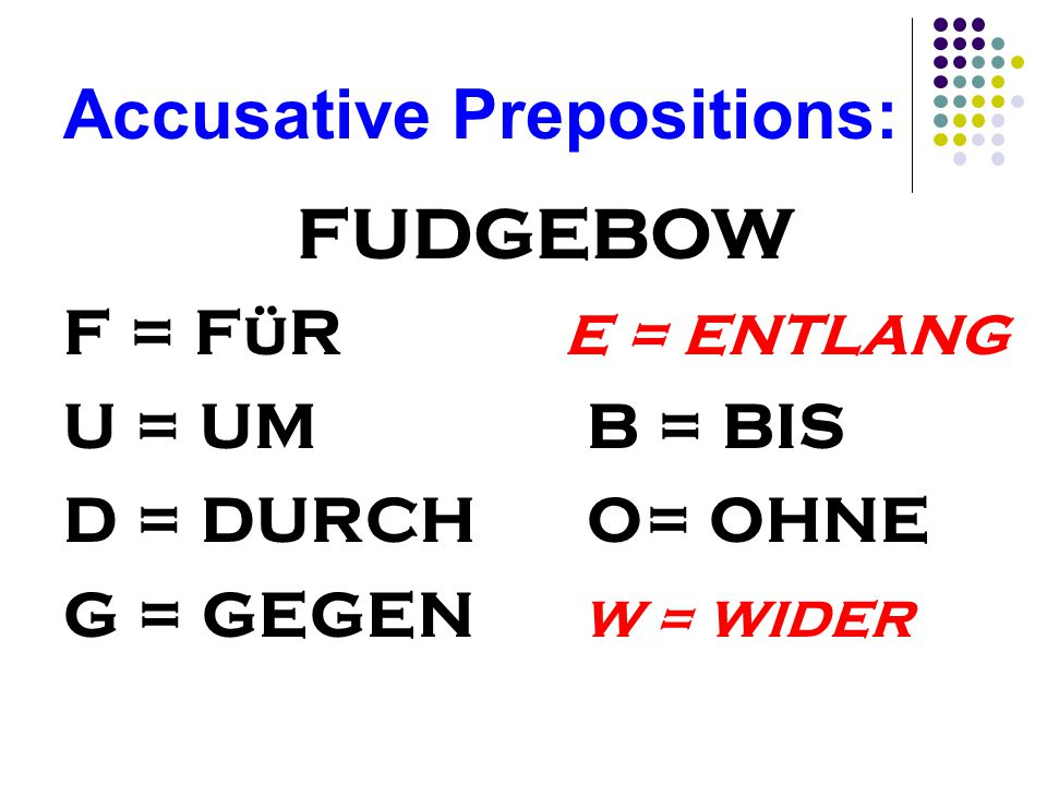 Accusative Prepositions: