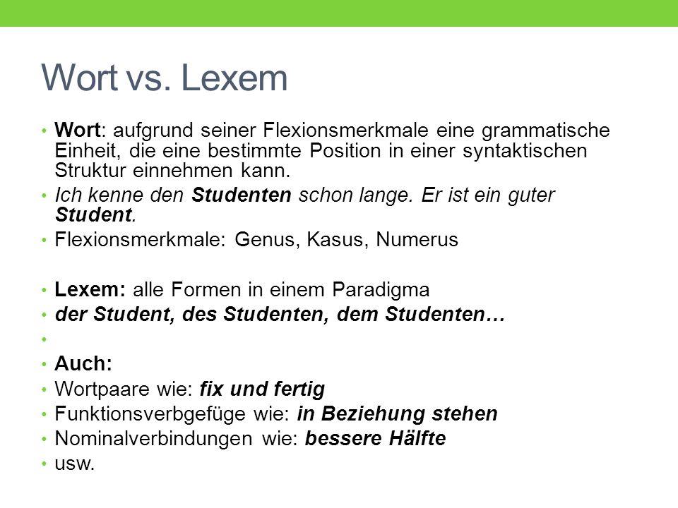 Wort vs. Lexem