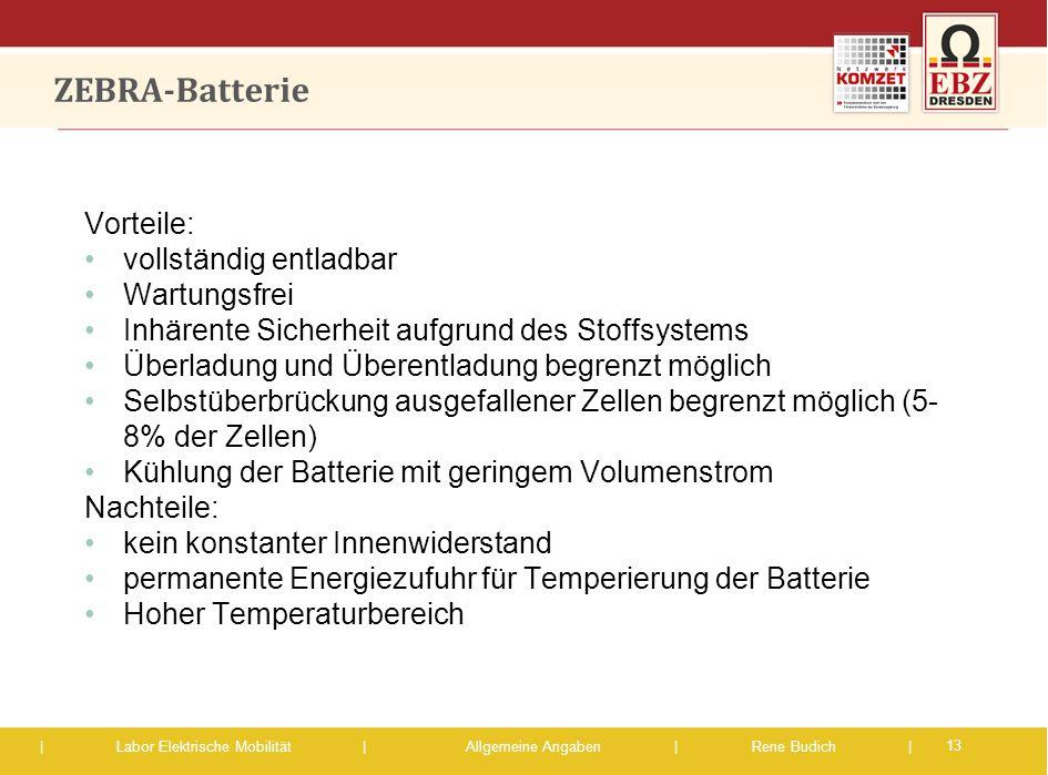 ZEBRA-Batterie Vorteile: vollständig entladbar Wartungsfrei