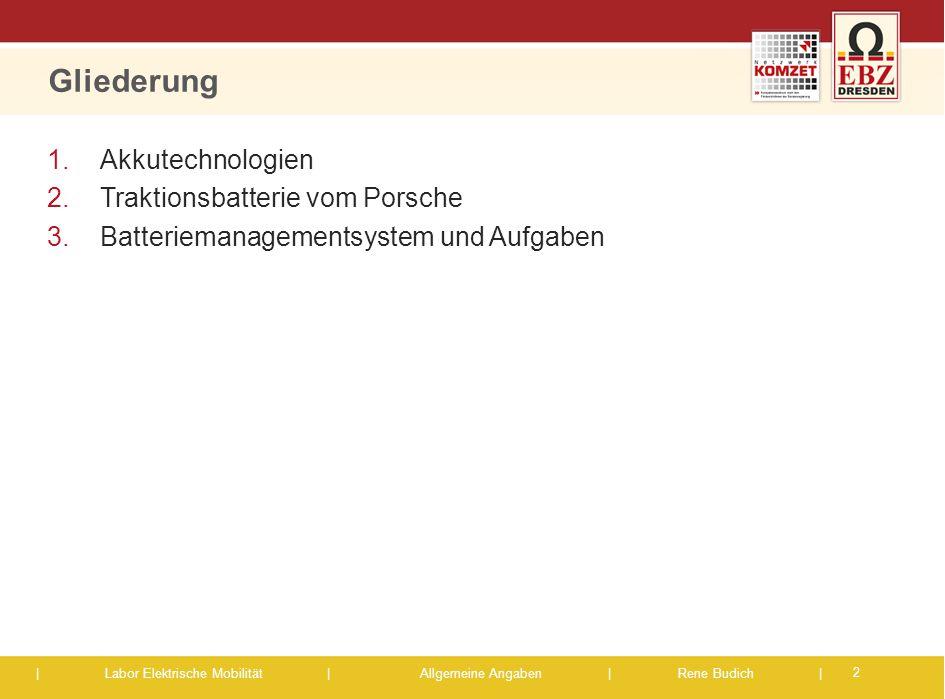 Gliederung Akkutechnologien Traktionsbatterie vom Porsche